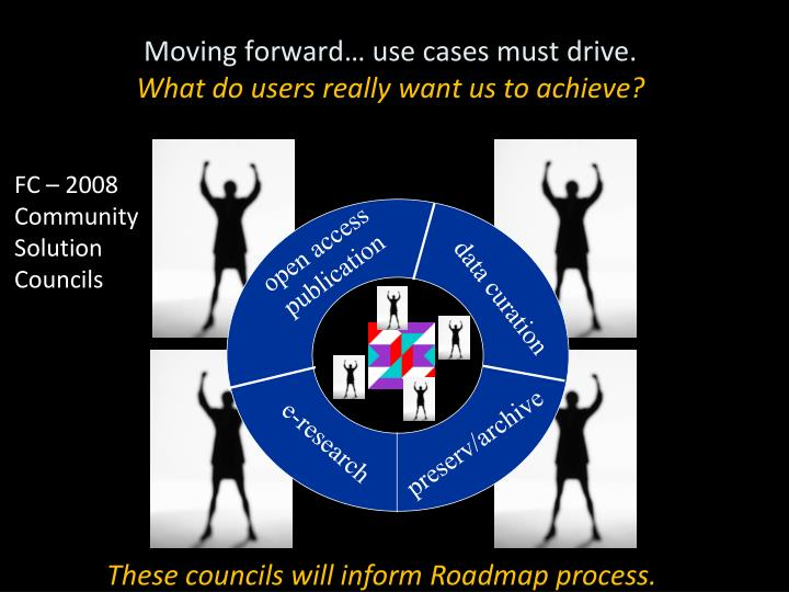 Moving forward use cases must drive what do users really want us to achieve