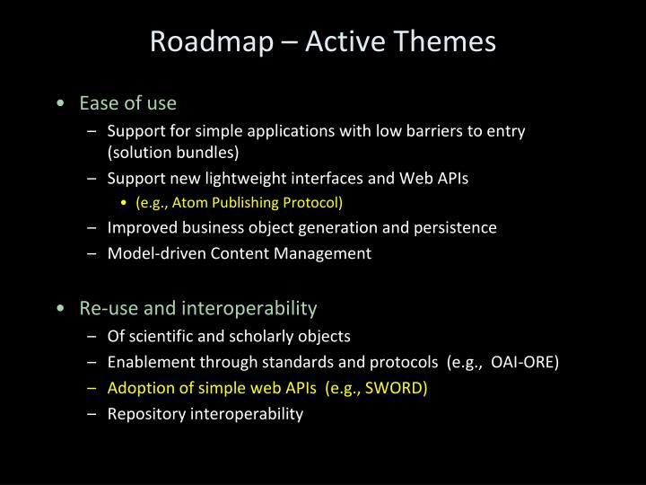 Roadmap – Active Themes