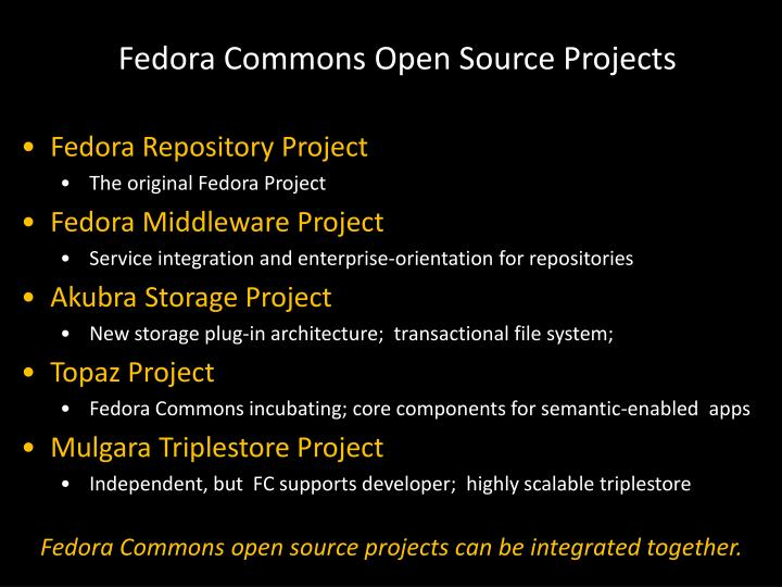 Fedora Commons Open Source Projects