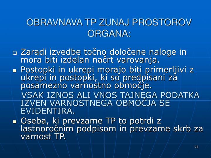 OBRAVNAVA TP ZUNAJ PROSTOROV ORGANA: