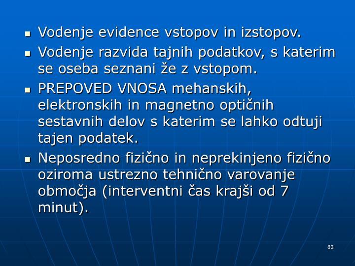 Vodenje evidence vstopov in izstopov.