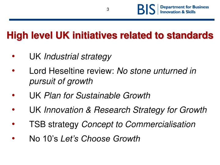 High level uk initiatives related to standards