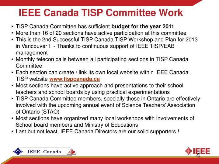 IEEE Canada TISP Committee Work