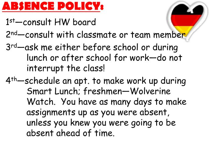 ABSENCE POLICY