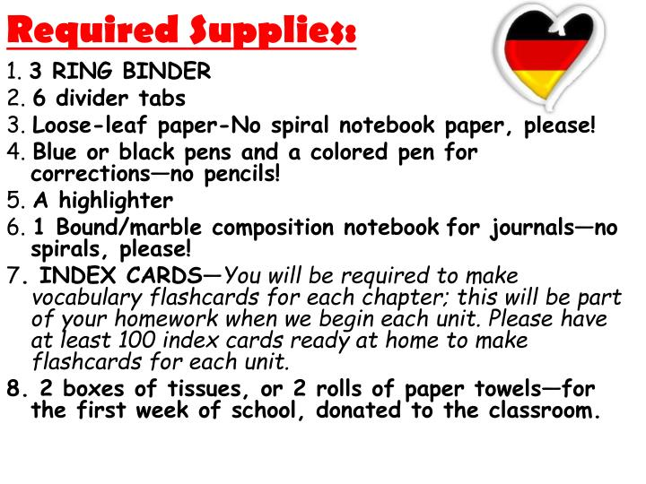 Required Supplies: