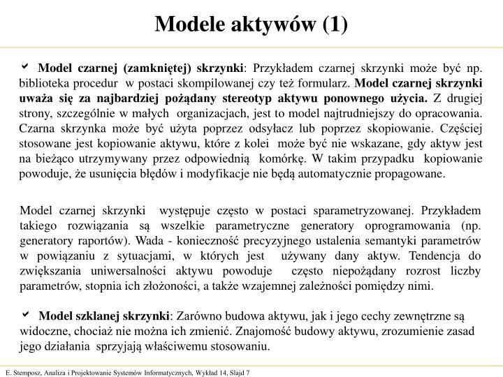 Modele aktywów (1)