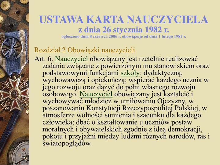 USTAWA KARTA NAUCZYCIELA