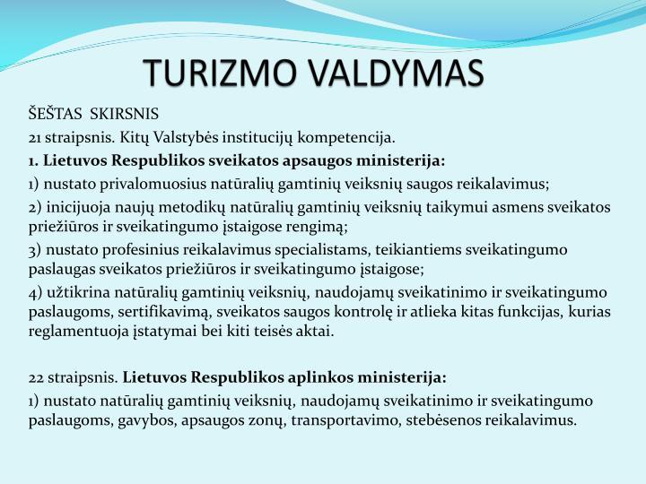 TURIZMO VALDYMAS