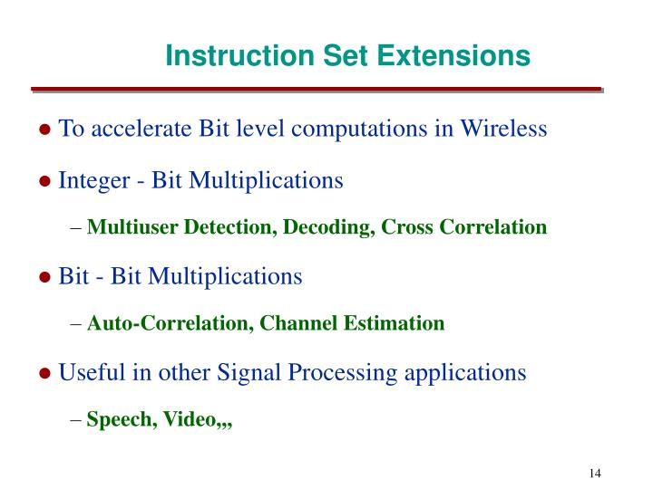 Instruction Set Extensions
