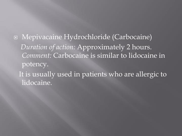 Mepivacaine Hydrochloride (Carbocaine)