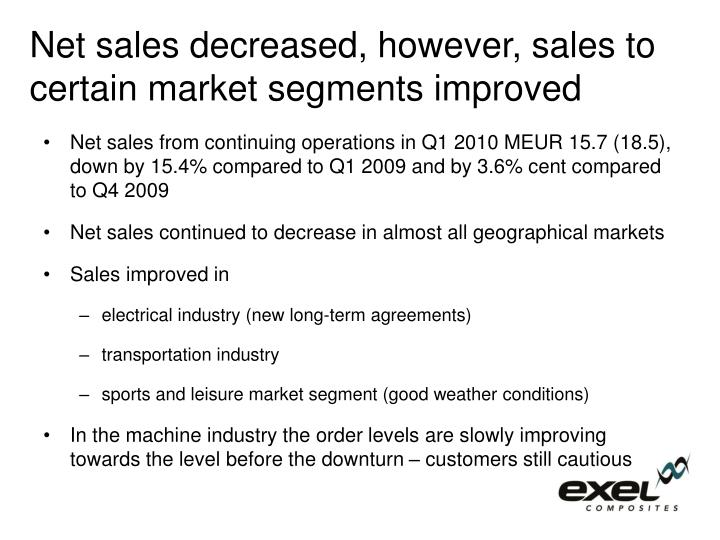 Net sales decreased, however, sales to certain market segments improved