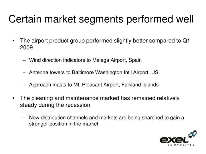 Certain market segments performed well