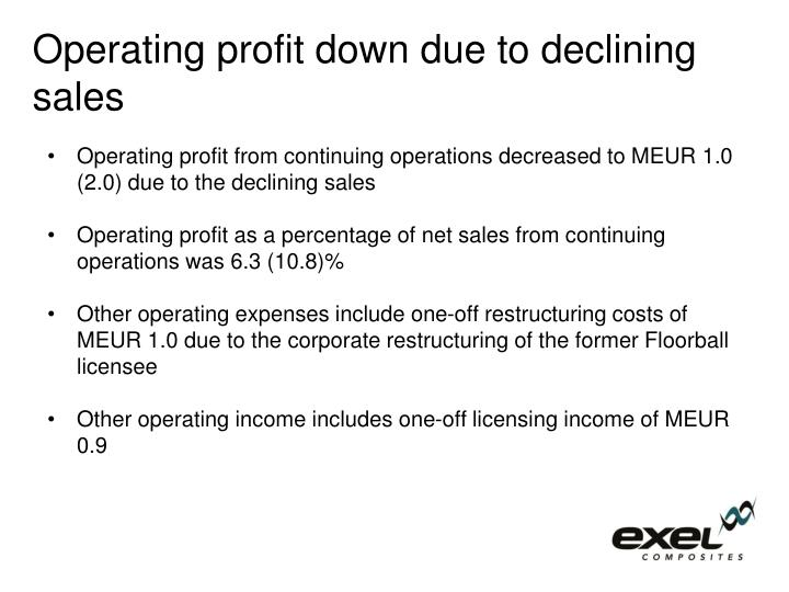 Operating profit down due to declining sales