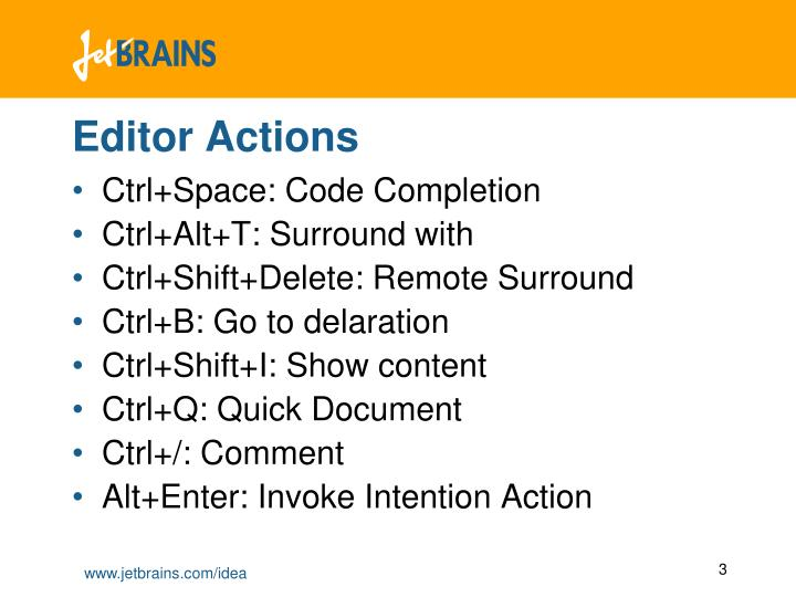 Editor actions