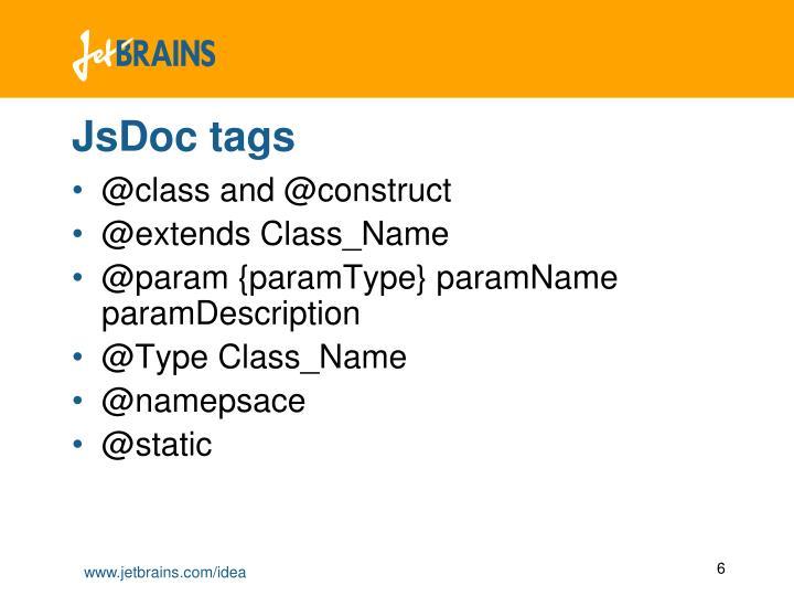 JsDoc tags