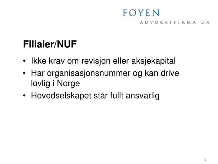 Filialer/NUF
