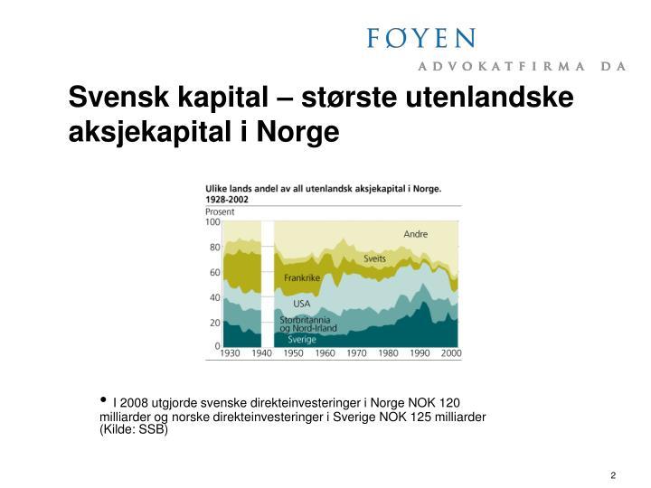 Svensk kapital – største utenlandske aksjekapital i Norge