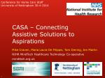 casa connecting assistive solutions to aspirations