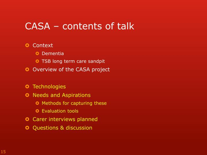 CASA – contents of talk