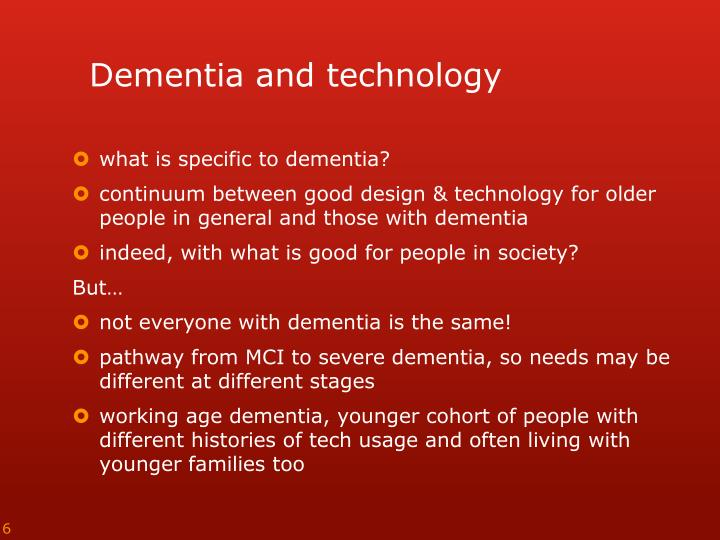 Dementia and technology