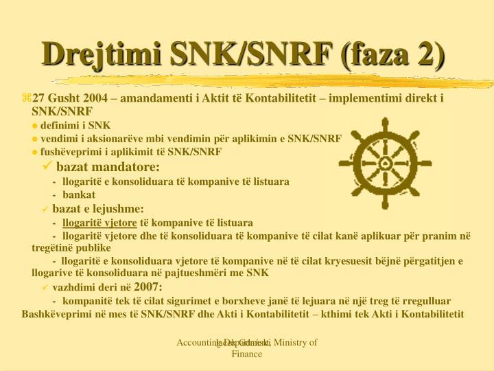Drejtimi SNK/SNRF (faza 2)