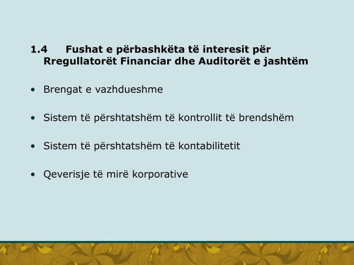 1.4Fushat e përbashkëta të interesit për Rregullatorët Financiar dhe Auditorët e jashtëm