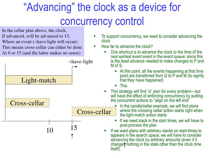 """Advancing"" the clock as a device for concurrency control"