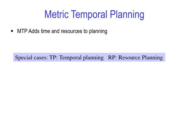 Metric temporal planning