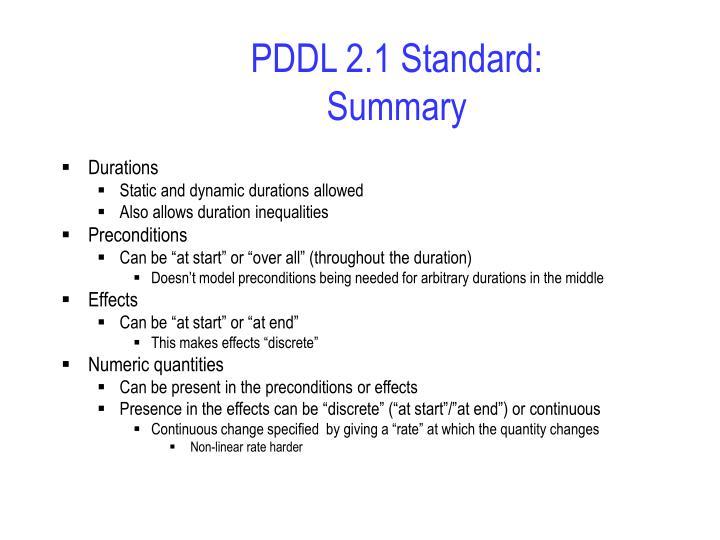 PDDL 2.1 Standard: