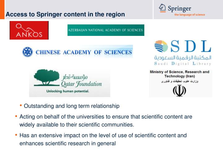 Access to Springer content in the region