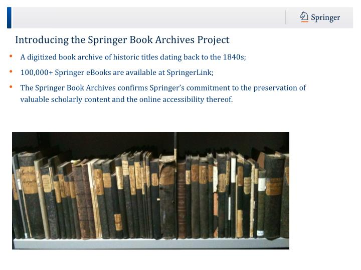 Introducing the Springer Book Archives Project