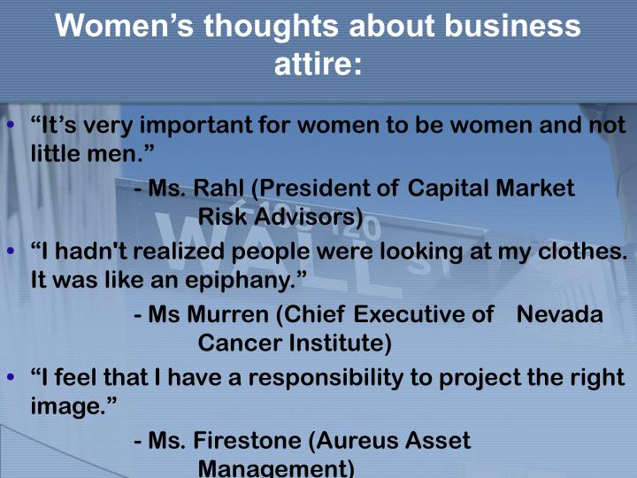 Women's thoughts about business attire: