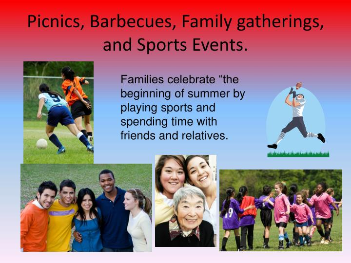 Picnics, Barbecues, Family gatherings, and Sports Events.