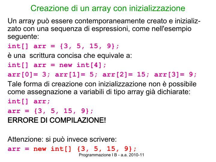 Creazione di un array con inizializzazione