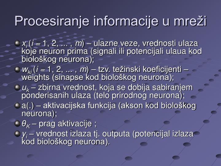 Procesiranje informacije u mreži
