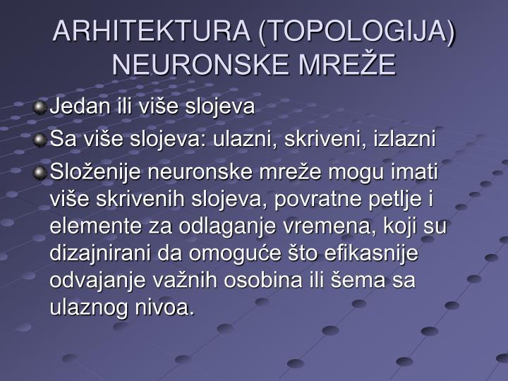ARHITEKTURA (TOPOLOGIJA) NEURONSKE MREŽE