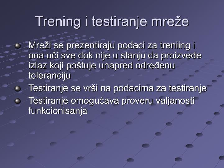 Trening i testiranje mreže