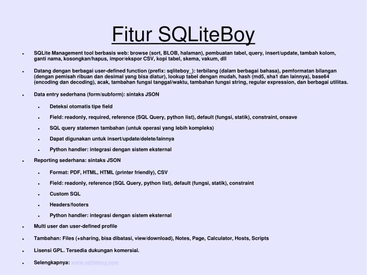 Fitur SQLiteBoy