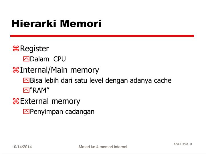 Hierarki Memori