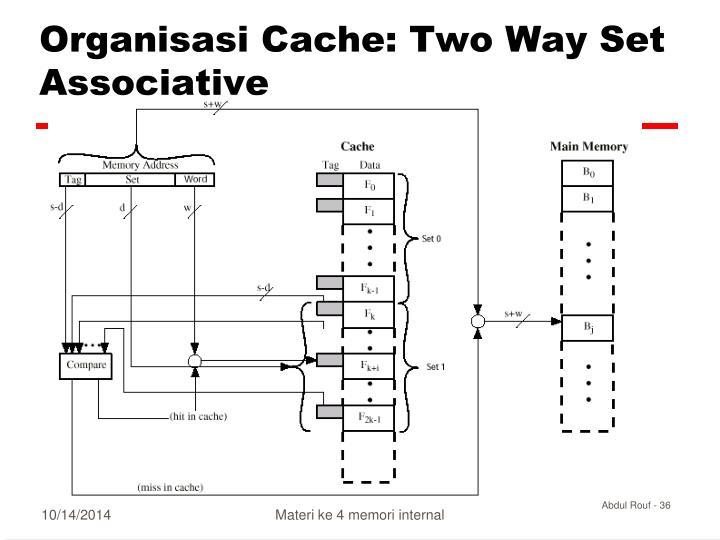 Organisasi Cache: Two Way Set Associative