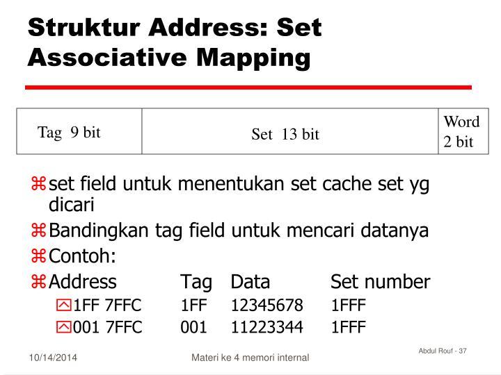 Struktur Address: Set Associative Mapping