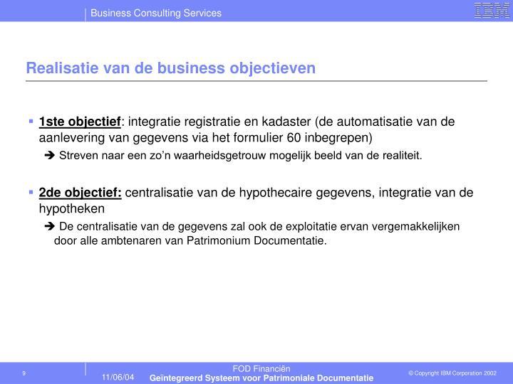 Realisatie van de business objectieven