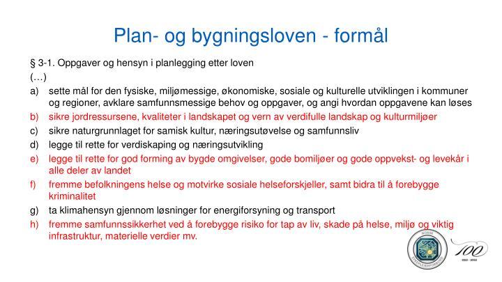 Plan- og bygningsloven - formål