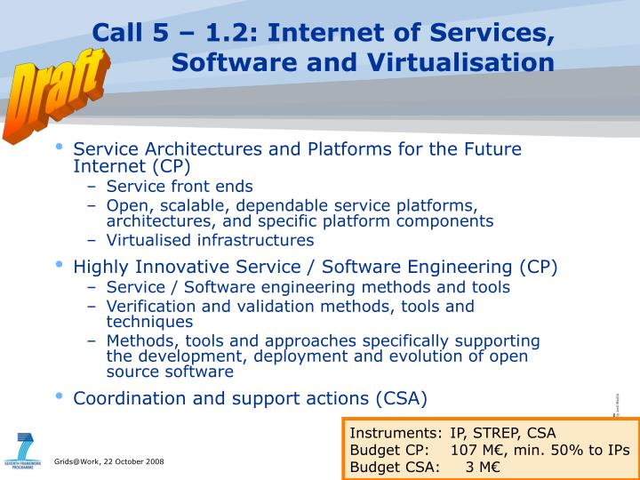 Call 5 – 1.2: Internet of Services,