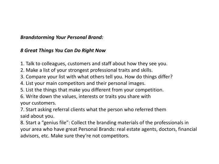 Brandstorming Your Personal Brand: