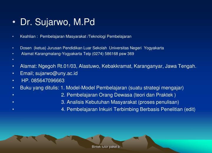 Dr. Sujarwo, M.Pd