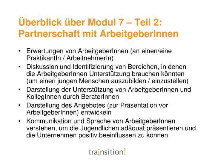 Überblick über Modul 7 – Teil 2: Partnerschaft mit ArbeitgeberInnen