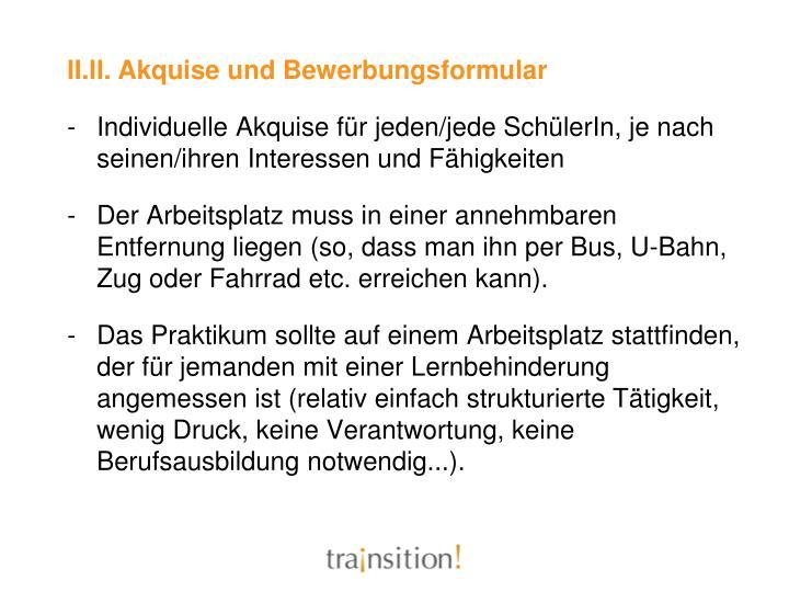 II.II. Akquise und Bewerbungsformular