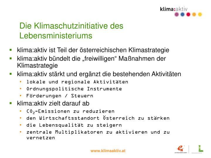 Die Klimaschutzinitiative des Lebensministeriums
