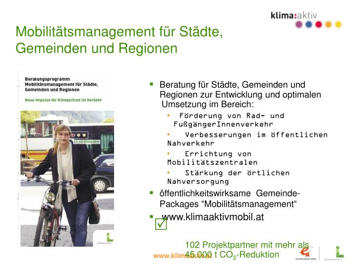 Mobilitätsmanagement für Städte,